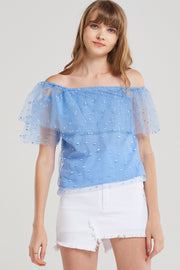 Ivy Sheer Flocked Off Top