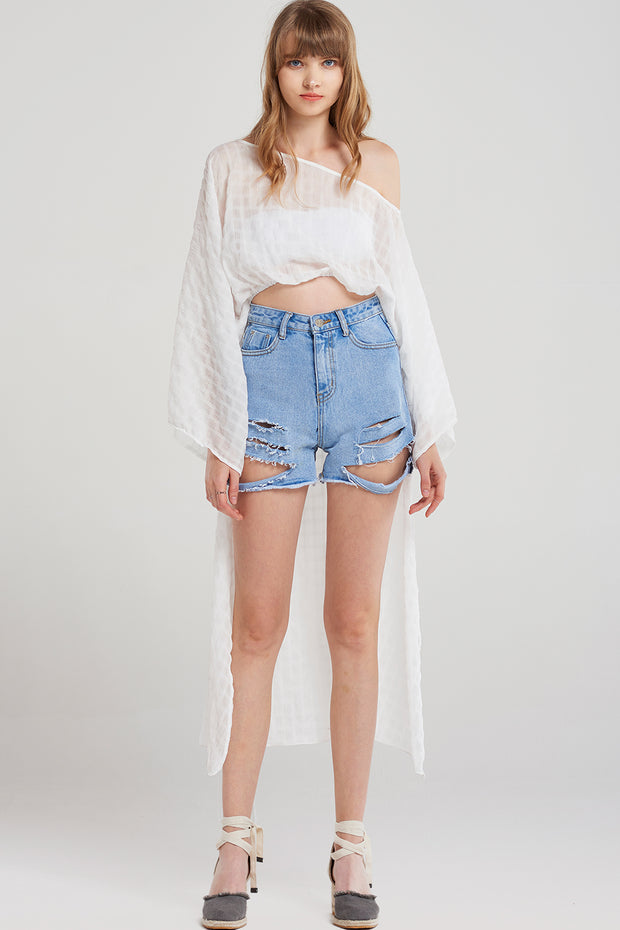 Mary Rib Ripped Shorts