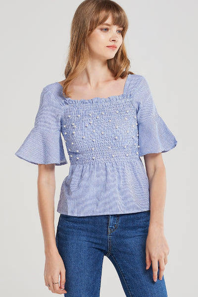 Pearl Shirred Square Neck Blouse