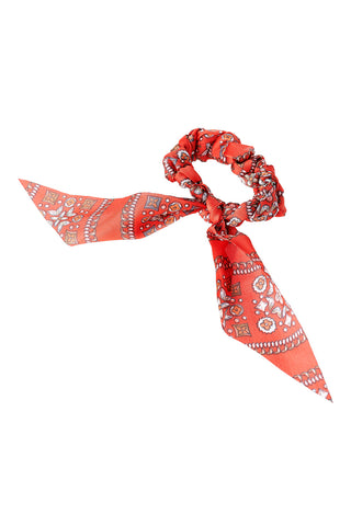 Red Pattern Bandana Scrunchie