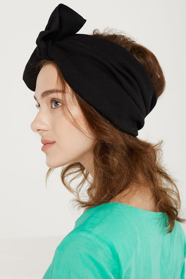 Ribbed Knot-Bow Headwrap