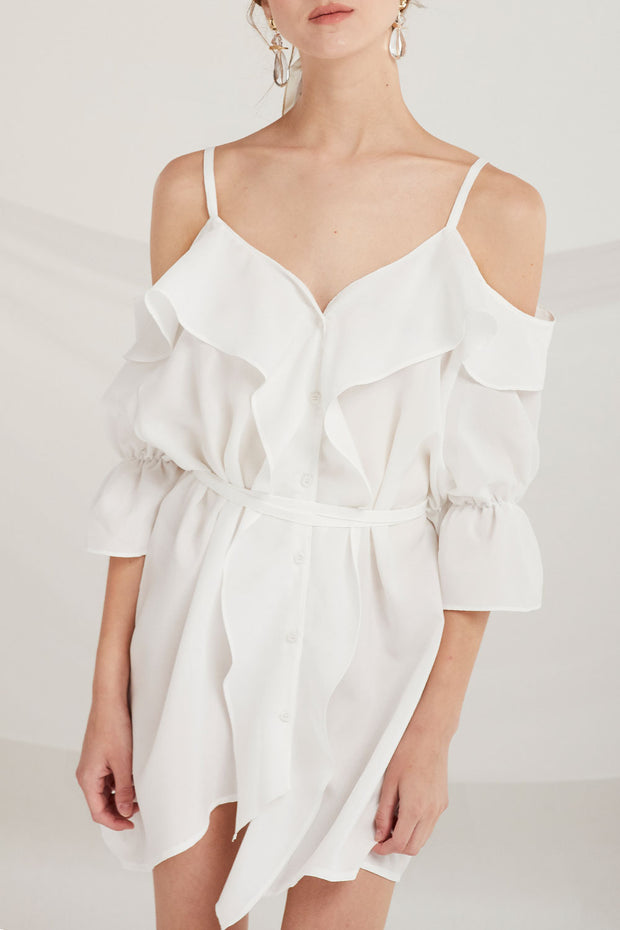 Kamryn Cold Shoulder Ruffle Dress by STORETS
