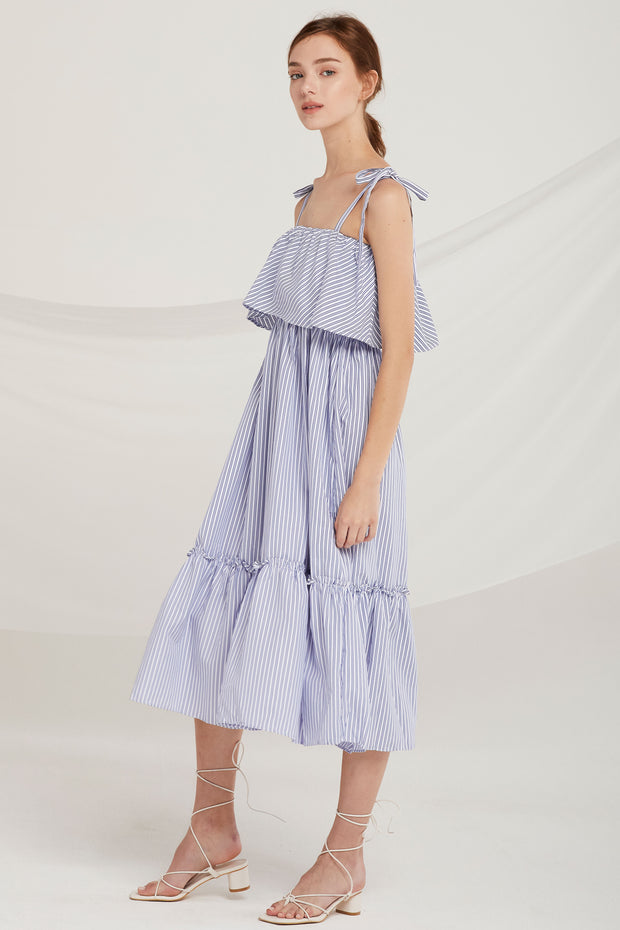 Katelyn Stripe Shoulder-Tie Dress