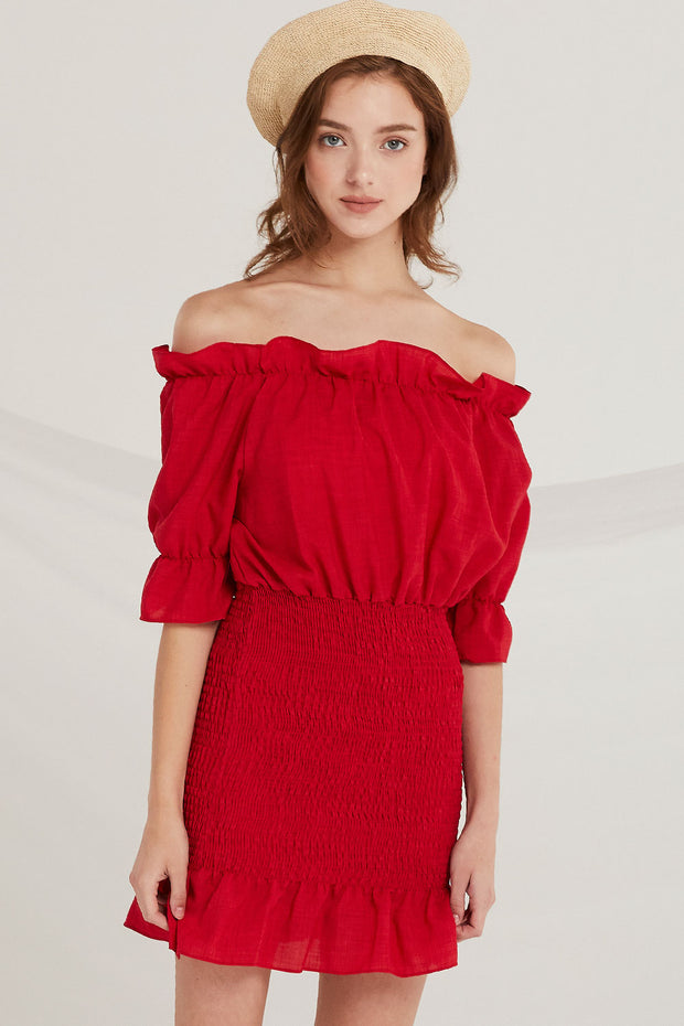 Yaretzi Off-the-Shoulder Smocked Dress