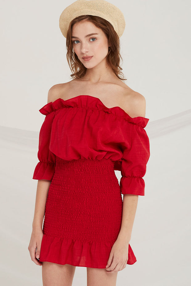 Yaretzi Off-the-Shoulder Smocked Dress by STORETS
