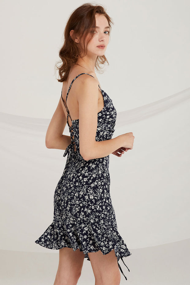 Jillian Floral Lace-Up Back Dress