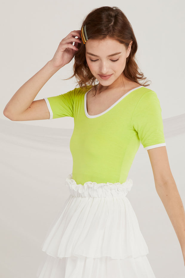 Lennon Scoop Neck Top w/Contrast Trim