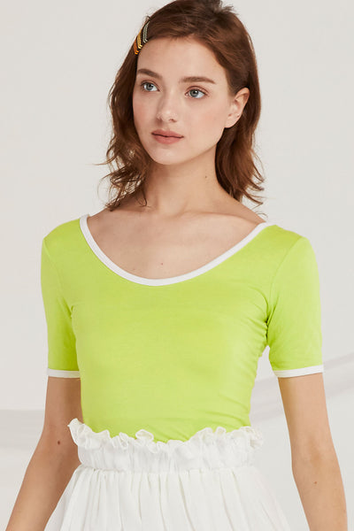 Lennon Scoop Neck Top w/Contrast Trim by STORETS