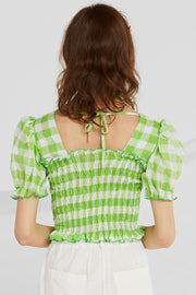Corinne Gingham Smocked Top