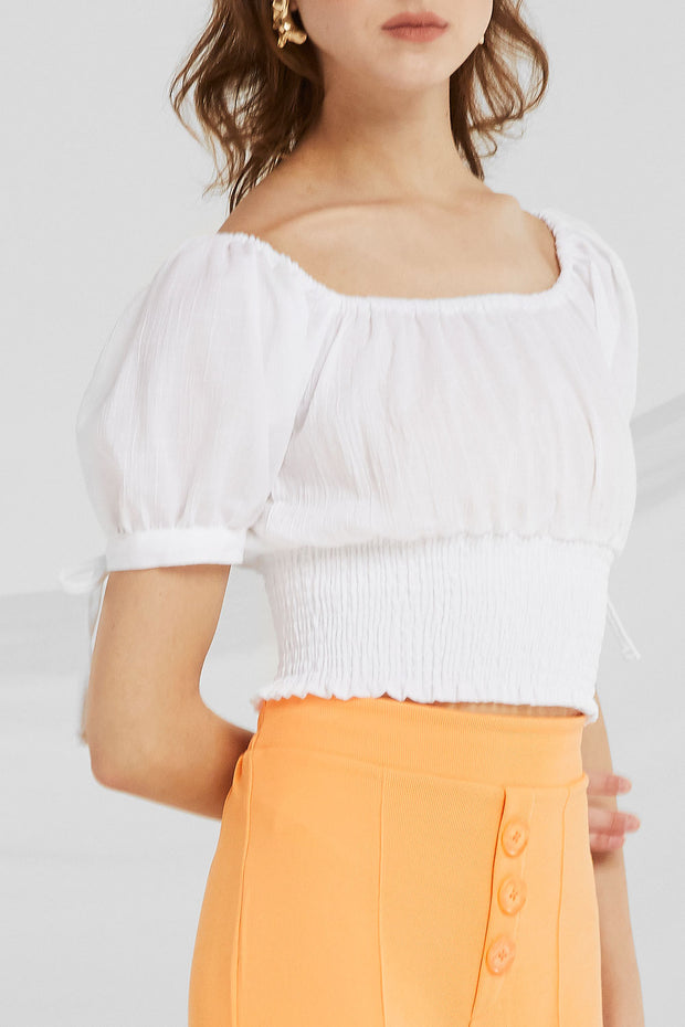 Janelle Off-the-Shoulder Smocked Top