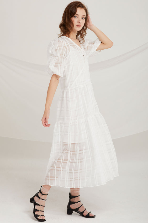 Kori Sheer Plaid Maxi Dress