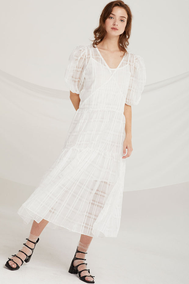 Kori Sheer Plaid Maxi Dress by STORETS