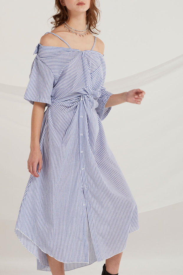 Sarai Stripe Ruched Knot Dress