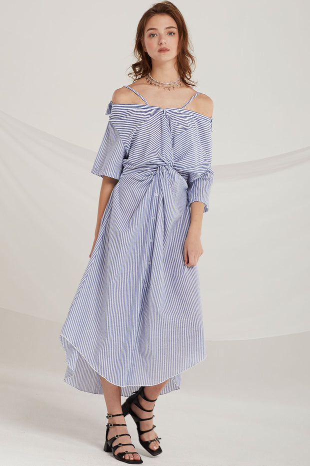 Sarai Stripe Ruched Knot Dress by STORETS