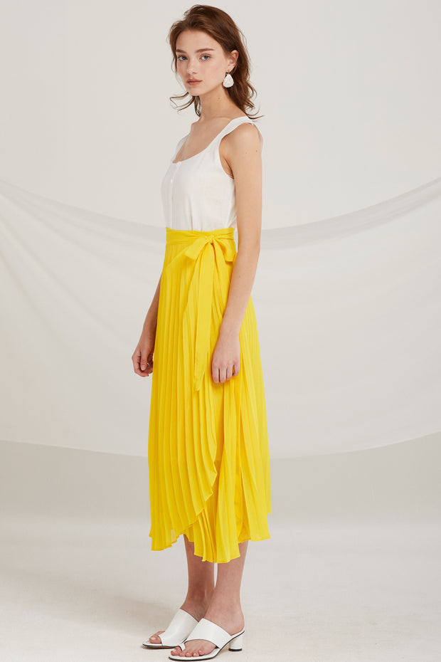 Myra Pleated Wrap Skirt