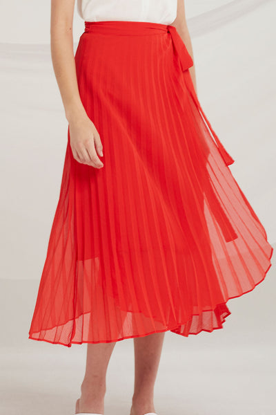 Myra Pleated Wrap Skirt by STORETS