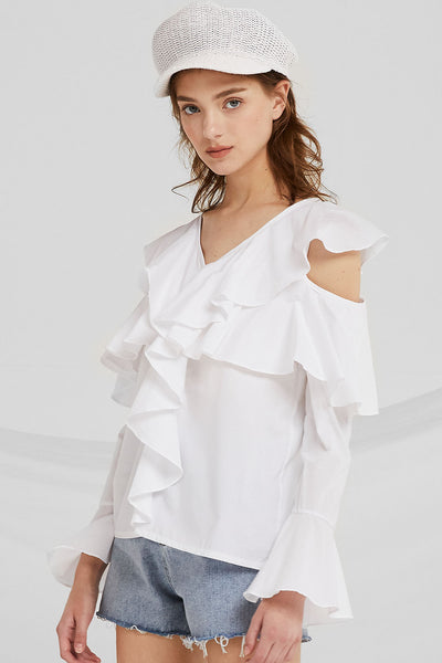 Lorelei Cold Shoulder Ruffle Top