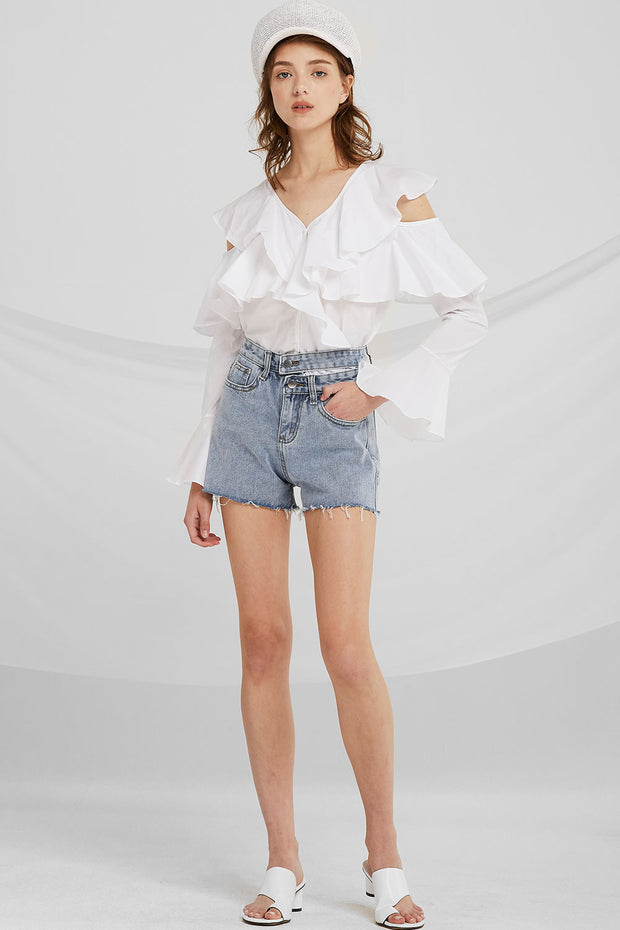 Kassidy Cut-out Waist Denim Shorts