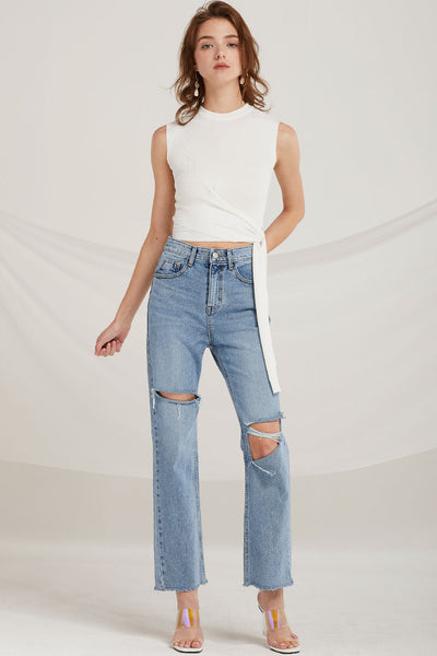 Marilyn Ripped Bootcut Jeans by STORETS