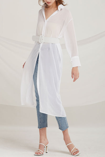 Jolene Sheer Chiffon Long Shirt w/ Belt by STORETS