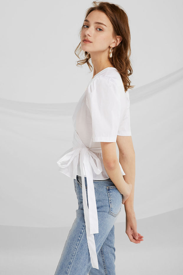 Belen Puff Sleeves Wrap Blouse