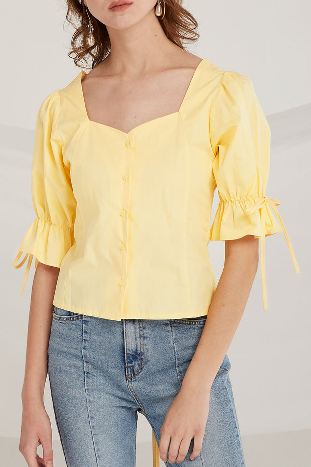 Noor Lace Up Back Blouse by STORETS