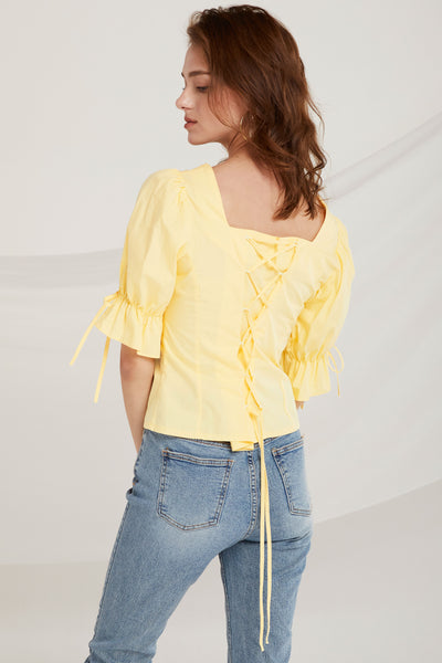 Noor Lace Up Back Blouse