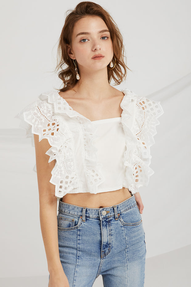 Aleah Punching Lace Crop Top