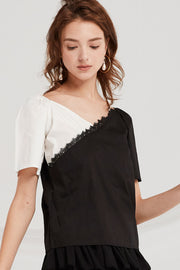Abby Contrast Wrap Blouse