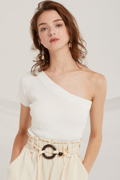 Cara One-Shoulder Knit Top by STORETS