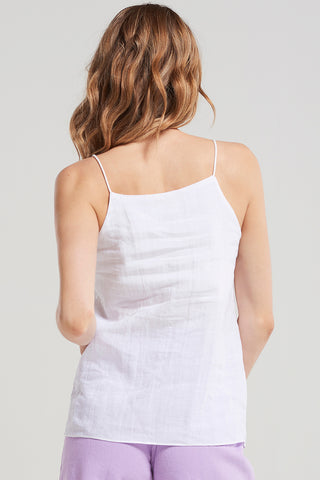 Basic Linen String Strap Top-White