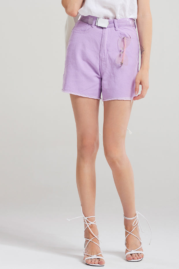 Zoey Clear Belt Shorts-Purple