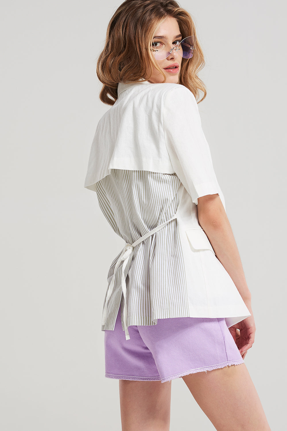 Reagan Linen Short Sleeve Jacket-Ivory