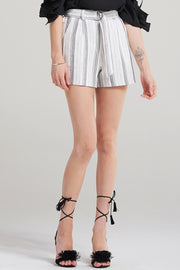 Maya Multi Stripe Line Shorts-Ivory