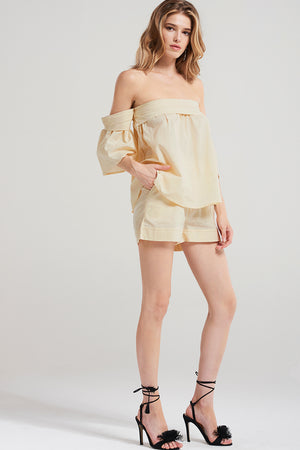 Sia Banded Off Top Shorts Set-Beige