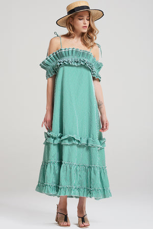 Eva Holiday Long Dress-Green
