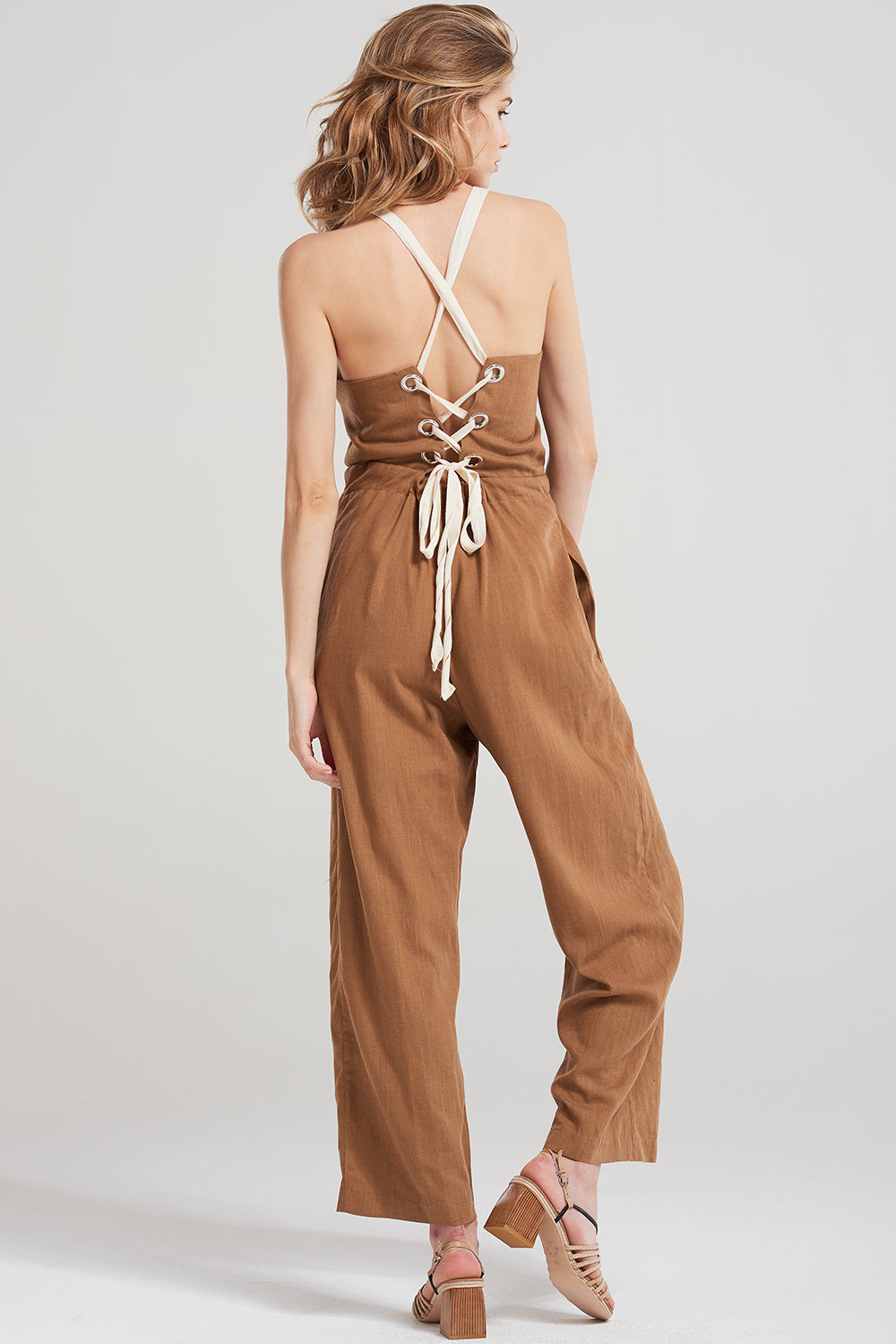 Stacey Back Crosslace Romper-Brown