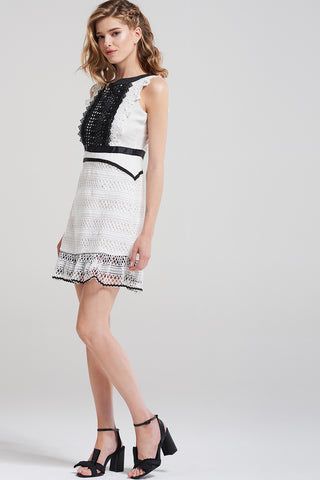 Aubrey Vintage Lace Dress-White
