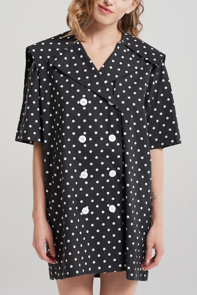 Madison Polka Button Up Dress-Black