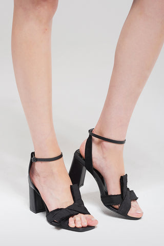 Cross Ribbon Block Heels