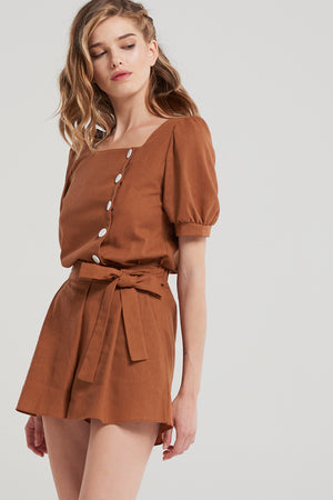 Ariel Melodie Side Button Blouse-Brown
