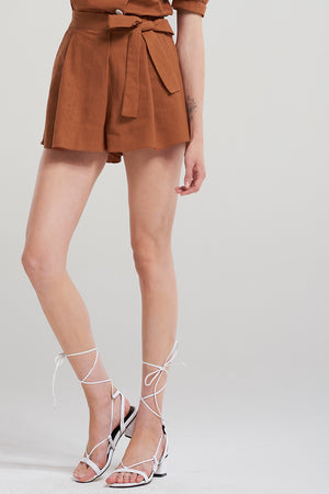 Ariel Melodie Tie Up Skort-Brown