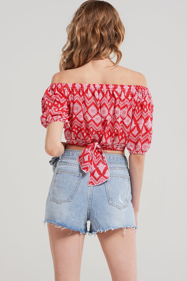 Faith Diamond Cropped Blouse-Red