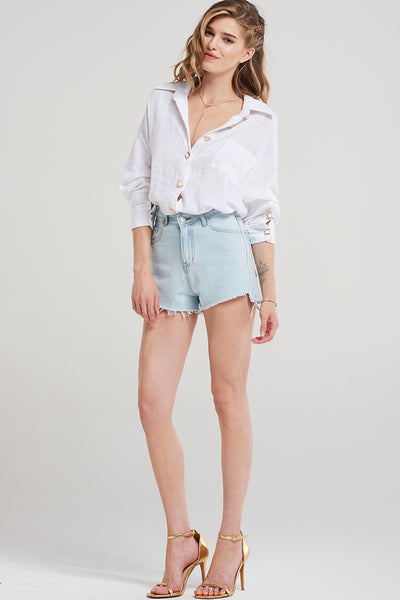 Claire Short Denim Shorts-Skyblue