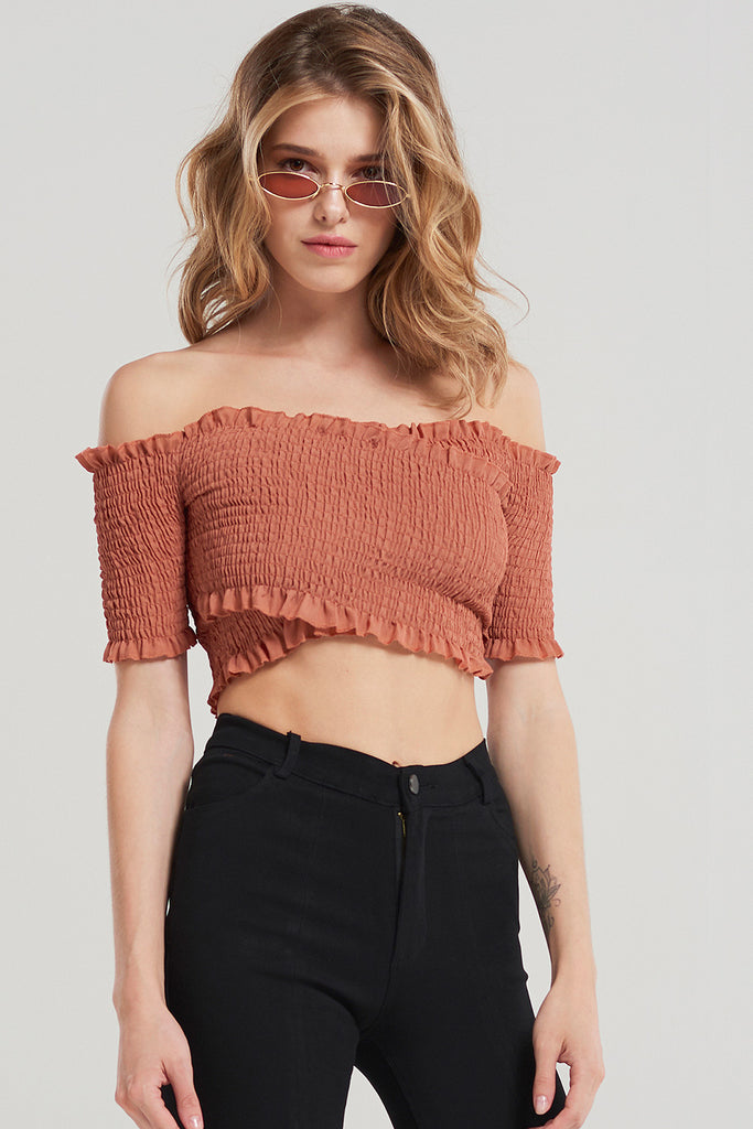 Basic Shirred Off Shoulder Crop Top-Pink