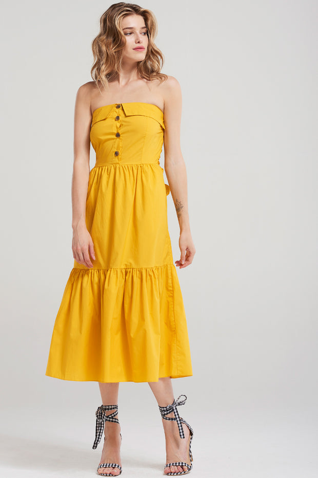 storets.com Julia Long Top Dress-Yellow