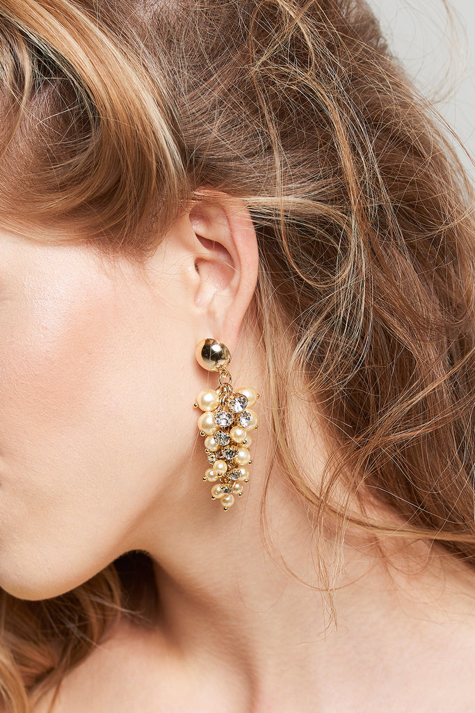 Gold Grape Earrings