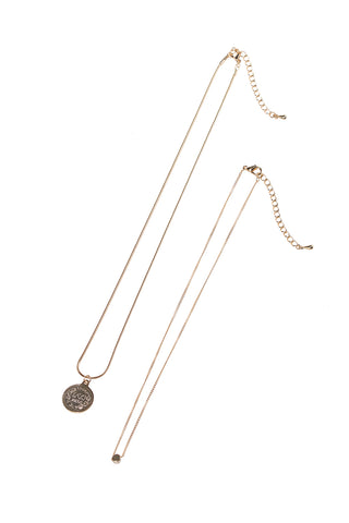 Double Chain Medal Necklace-Gold