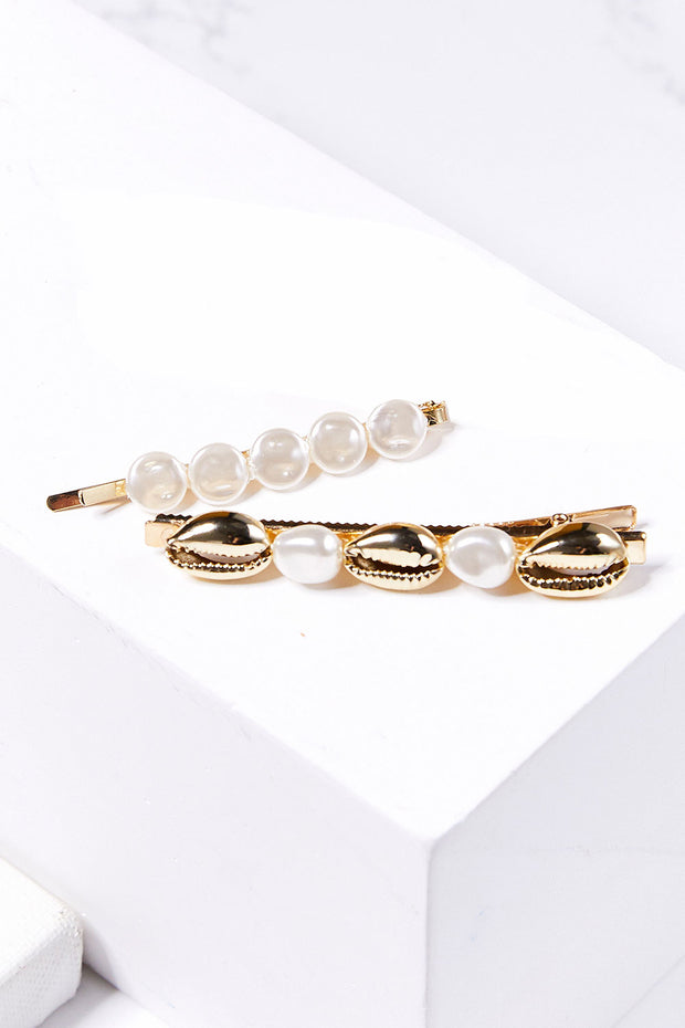 Cowrie Shell Pearl Bobby Pin Set