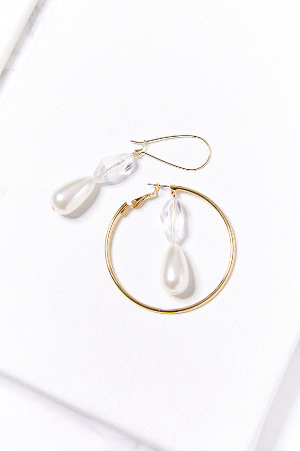Asymmetric Pearl Dangle Earrings